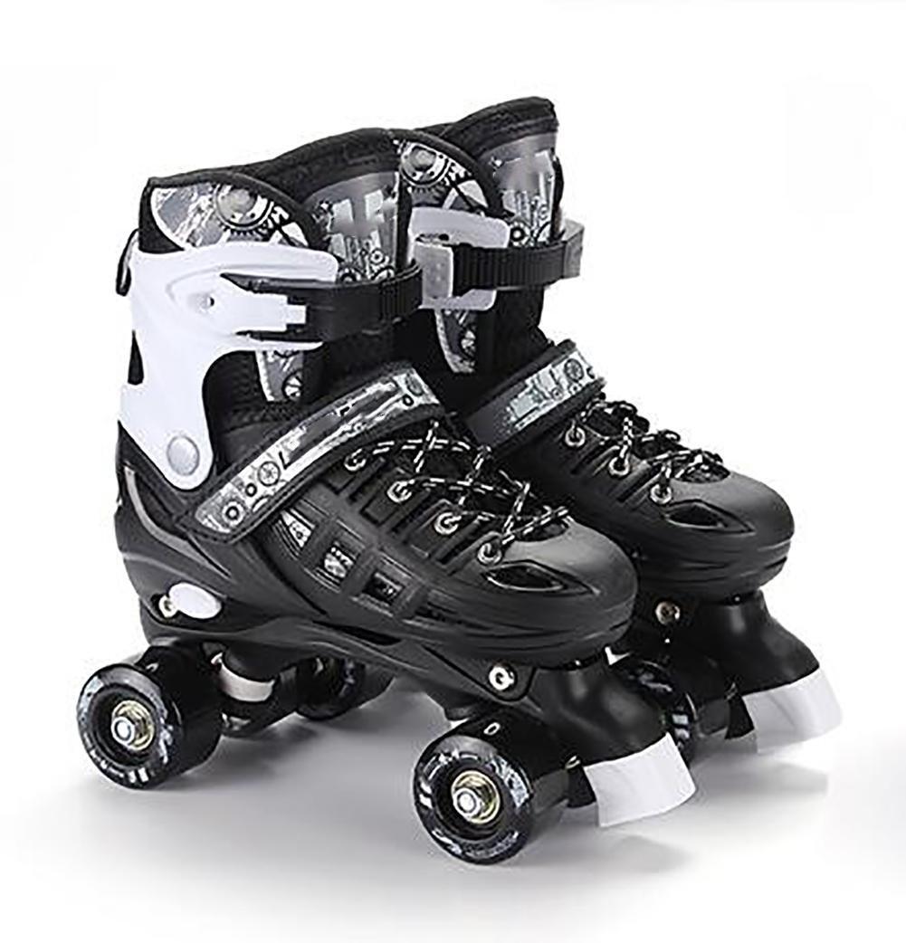 Kid Quad Roller Skates adjustable ABEC -7 , l , black by WY