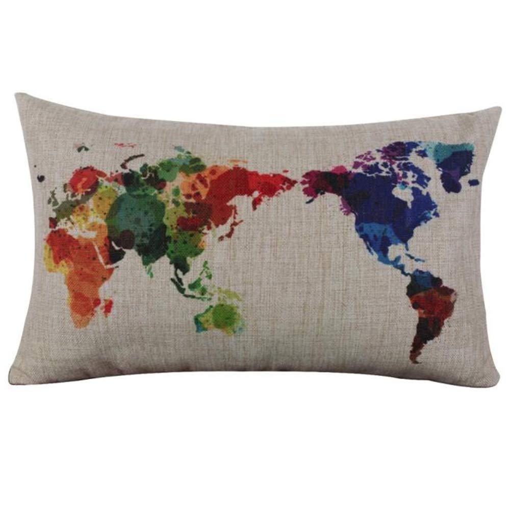 ZYUEER Housse De Coussin Rectangle Imprimé World Map, Taie D'Oreiller Lin Et Coton Size:30cm X 50cm (Beige)