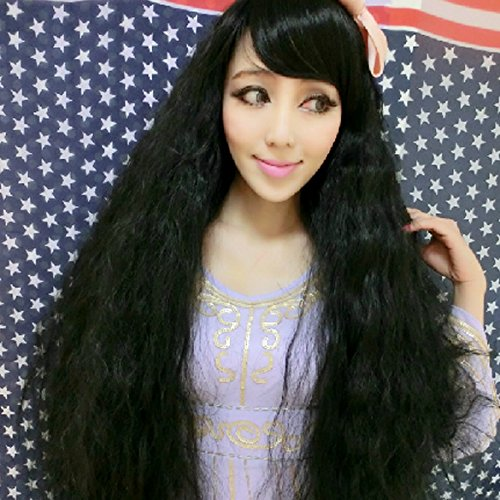 [Women Corn Perm Fluffy Long Curly Wig Oblique Bangs Hair (Black)] (Perm Wigs)