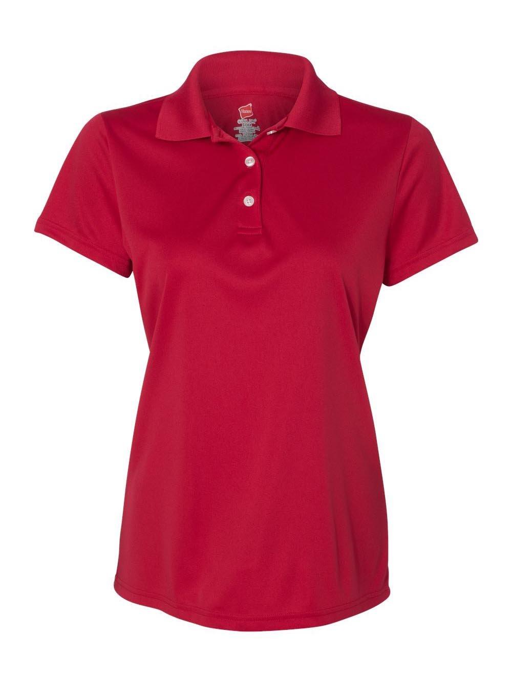 Hanes Women's Cool Dri Sportshirt, Medium, Deep Red