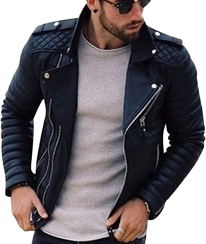 EVEDESIGN Mens Pu Leather Jacket-Lambskin Furx Waxed Motorcycle Coats