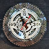 Automaton Dual Time unique industrial wooden wall clock, personalized, steampunk, one-of-a-kind, victorian, gift
