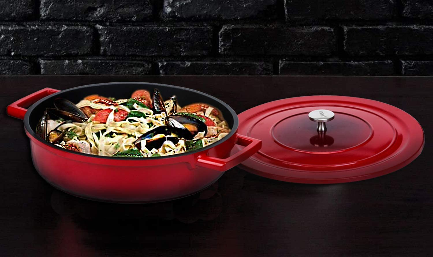 Braising Loop Handles//Silicone Handles Cainfy 4.1 Quart Cast Aluminum Dutch Oven Pot with Lid Enameled Covered Casserole Braiser Pan Round Casserole Pot Skillet Dish Utensils for Bread Baking