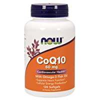 NOW Supplements, CoQ10 60 mg with Omega 3 Fish Oil, Cardiovascular Health*, 120 Softgels