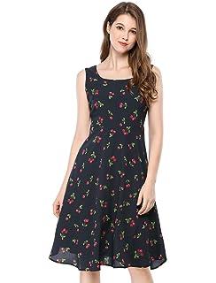 5a8e5067ea Allegra K Women s Sleeveless Vintage 1950s Swing Cherry Print Midi Flare  Dress