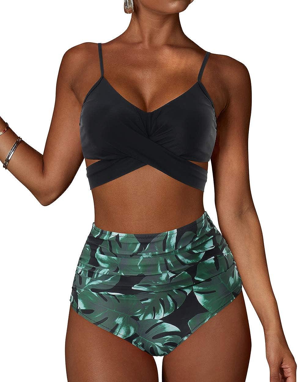Wome Criss Cross Swimwear Push Up Bandage Bikini 2 Piece Suit Halter Tankini