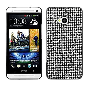 Caucho caso de Shell duro de la cubierta de accesorios de protección BY RAYDREAMMM - HTC One M7 - Black White Classical Pattern Fashion Fabric