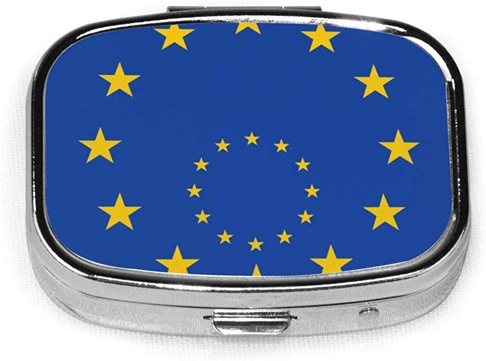 Originalidad Bandera de la Unión Europea Caja de pastillas cuadrada personalizada Caja decorativa Contenedor de vitaminas Bolsillo o billetera