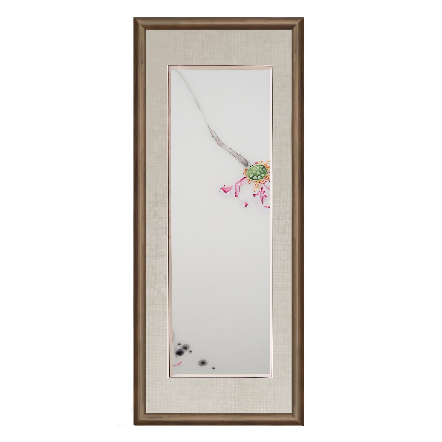 Vivimin 100% Handmade Embroidery Chinese Ink Painting Boxwood Framed Lotus and lotus root Modern Artwork Hanging Wall Decoration Souvenir Christmas Gift Fashion Collectible Gift Painting Art