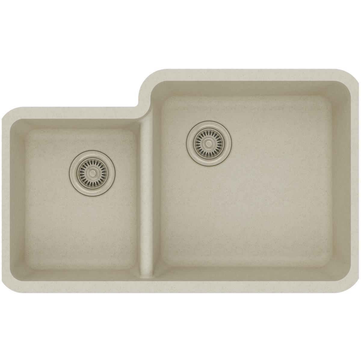Elkay Quartz Classic ELGOU3321LBQ0 Bisque Offset 40/60 Double Bowl Undermount Sink