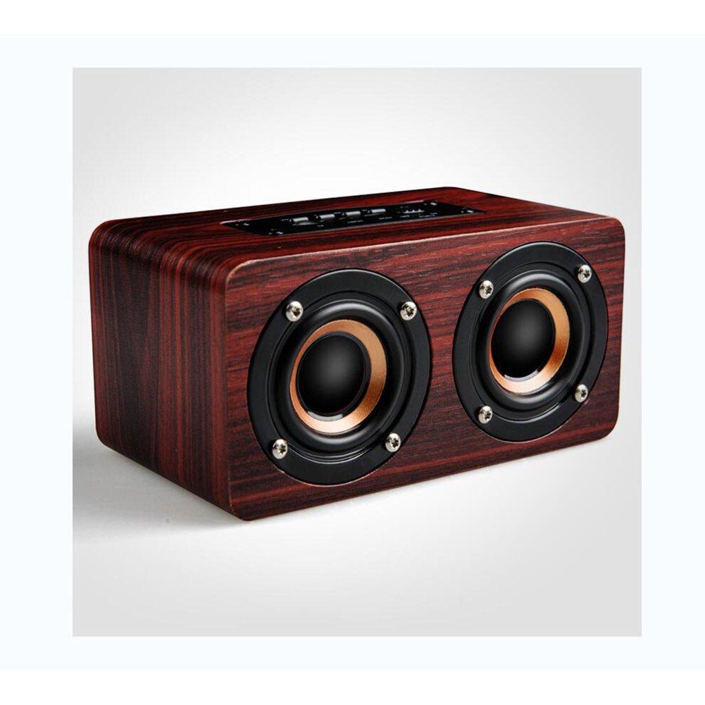 LIRONG Wireless Bluetooth Speaker, Bluetooth 4.2 Stereo Speakers Karaoke Microphones Wood Cards Subwoofer Computer Speakers,Brown