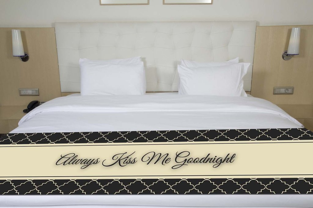 ''Always Kiss Me Goodnight'' Black Quatrefoil Bed Runner Scarf Twin/Full/Queen/King Size