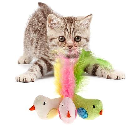 XMTPF Juguetes para Gatos, Plumas de pájaros Falsas, Juguete Artificial, Juguete Interactivo para