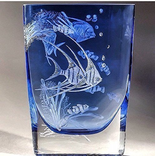 Amazon Hand Engraved Coral Fish Vase Floral Vase Glass