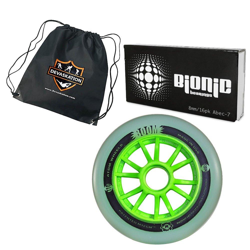 Atom Boom Magic Inline Wheels 8-Pack with Bionic Abec-7 Bearings and Bonus Devaskation Drawstring Bag (XFirm, 110mm)