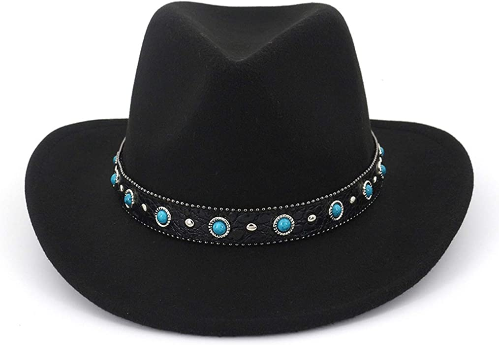5a3eb319a8d KKONION Plain Wool Felt Jazz Fedora Hats with Leather Decorated Men Women  Casual Cowboy Cowgirl Hat