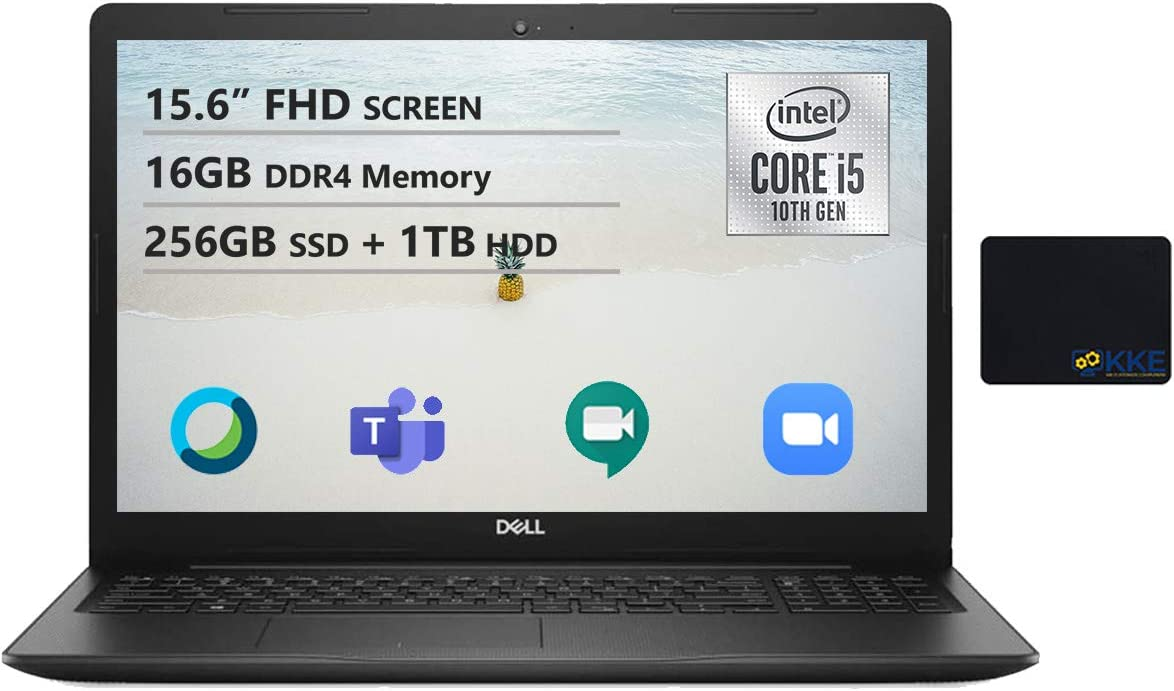 """Dell Newest Vostro 3590 15.6"""" FHD Business Laptop, Intel i5-1021U, 16GB Memory, 256GB PCIe Solid State Drive + 1TB HDD, Webcam, WiFi, HDMI, DVD-RW, KKE Mousepad, Win10 Pro"""
