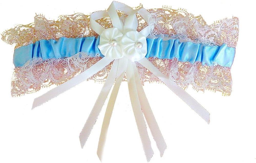 Spitze und Perlen LadyMYP/© Blaues Strumpfband mit wei/ßen Bl/üten