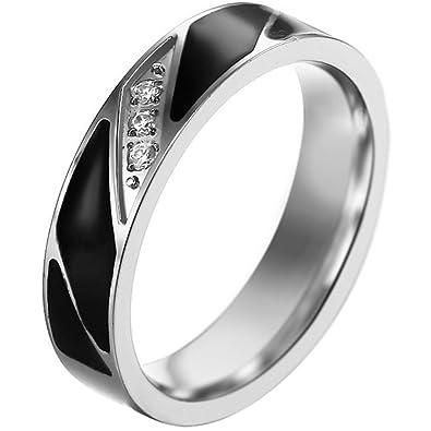 e6ac764913b JewelryWe Bijoux Bague Homme Email Fiançailles Alliance Acier Inoxydable  Anneaux Fantaisie Couleur Argent Noir Largeur 6mm