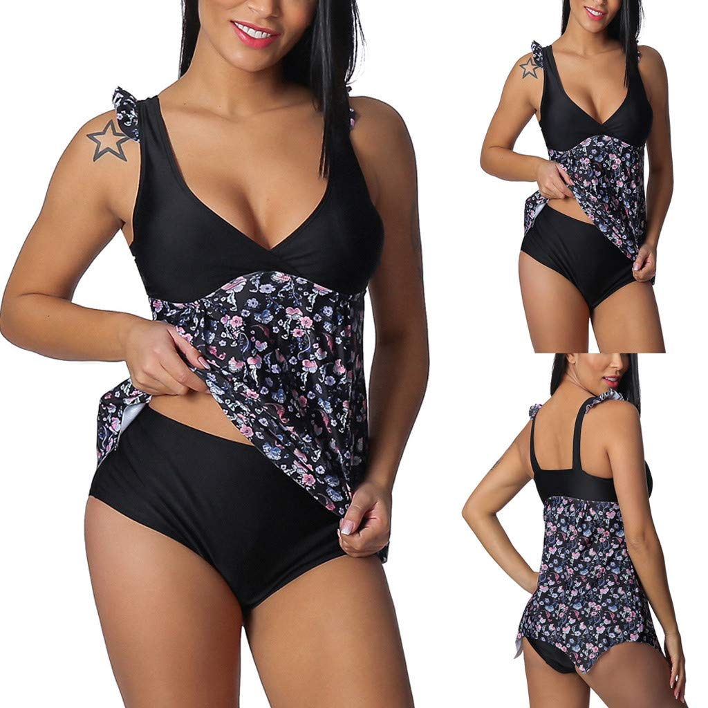 35aad63562 Amazon.com: Ularma 2019 Women Tankini with Board Shorts Plus Size Tummy  Control Print Swim Jumpsuit Swimsuit Beachwear Padded Swimwear: Clothing