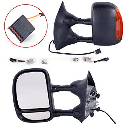 MOTOOS Manual Towing Mirrors Amber LED Signal Light Fit for 1999-2007 Ford F-250 F-350 F-450 F-550 Super Duty Both Driver and Passenger Side Mirrors: Automotive