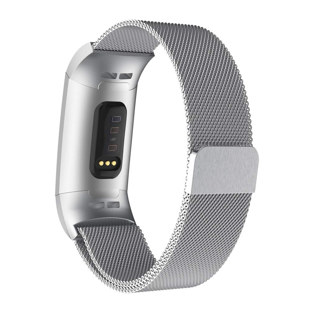Pour Fitbit Charge 3 Acier Inoxydable Milanais Bracelet de Montre Bracelet É tanche La mode Acier inoxydable Sports Doux Sisit (Argent, Longueur: 198mm) SS
