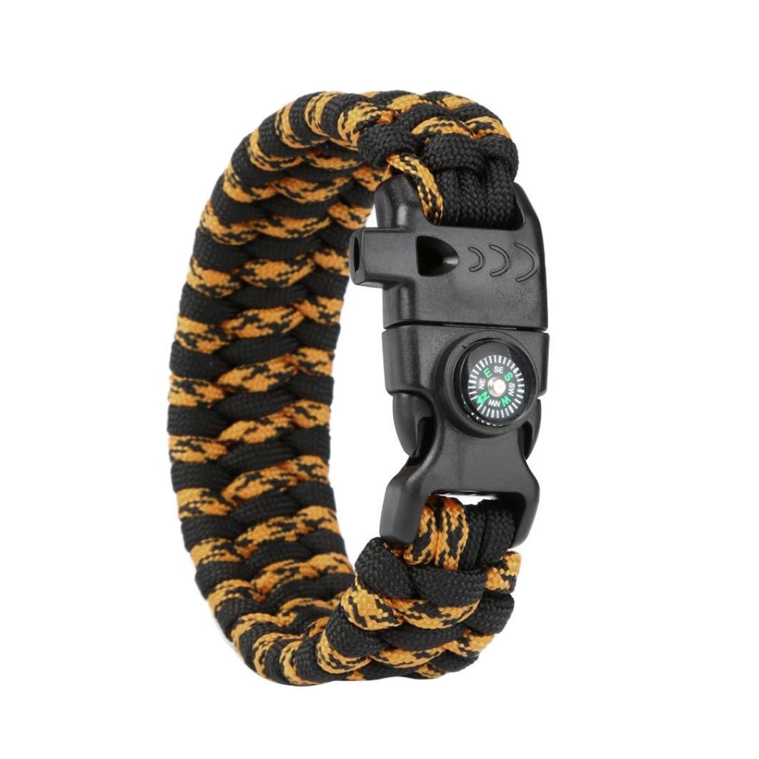 Xusun New Paracord Survival Bracelet Flint Fire Starter Compass Whistle Wrist Outdoor (Camouflage)