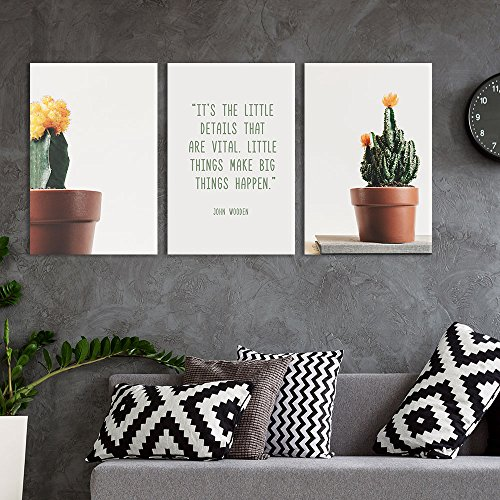 3 Panel Cactus in Pots with Inspirational Quotes Gallery x 3 Panels