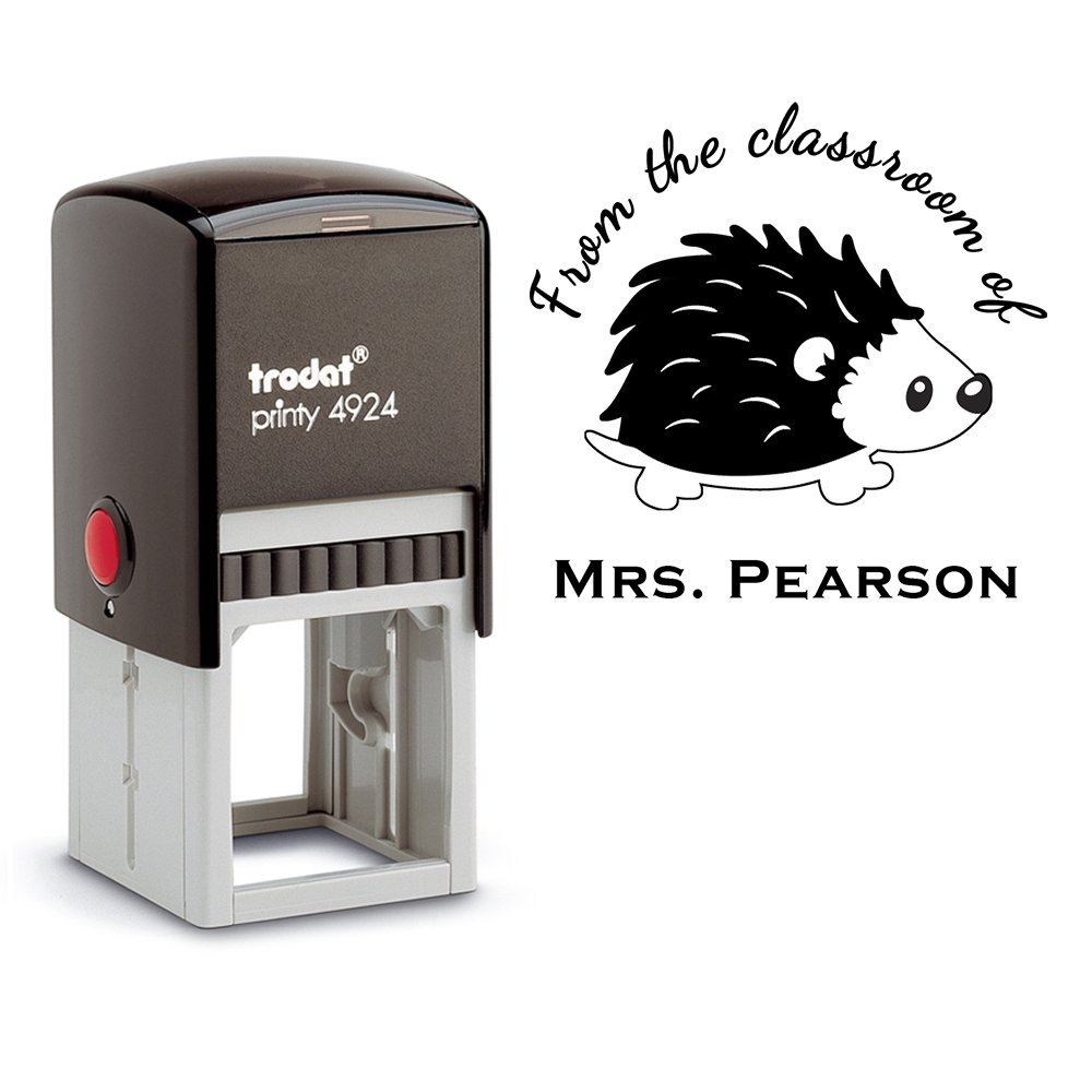 Black Ink, From the Classroom of Teacher Stamp Hedgehog Library Book Stamper Self Inking Personalized Custom Large Round 2 Lines Customized Personal Teacher Appreciation Christmas Gift