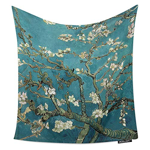 Moslion Room Art Wall Tapestry Van Gogh Artisoo Oil Painting Almond Blossoms Cool Dorm/Bedroom Decor Tapestry Wall Hanging for Men/Boy/Girl 51W X 60H Inches
