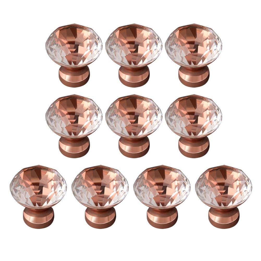 cajones cajones cajones de Cristal Tiradores cajones SHOH 10 Tiradores de Puerta de Cristal con Tornillo para armarios de Cocina Redondos Color Oro Rosa