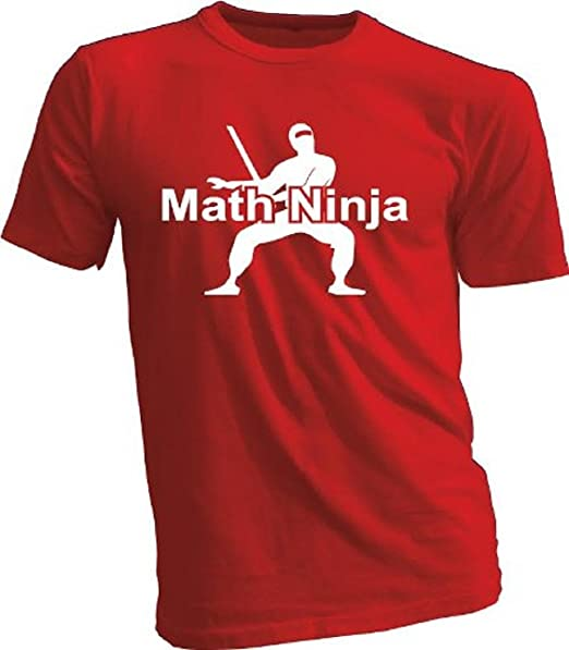Amazon.com: Math Ninja Youth Funny T-Shirt (Yth L) (Red ...
