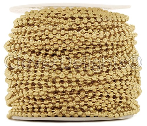 CleverDelights Ball Chain Roll - 30 Feet - Champagne Gold Color - 2.4mm Ball - #3 Size (Light Pendant Tile 3)