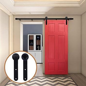 LWZH 12FT/366cm Herraje para Puerta Corredera Kit de Accesorios para Puertas Correderas,Negro Redondo Forma: Amazon.es: Bricolaje y herramientas