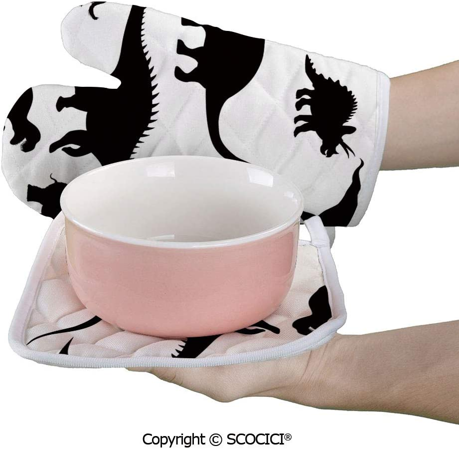 SCOCICI Oven Mitts Glove - Various Black Dino Silhouettes Dinosaur Evolution Extinction Predator Heat Resistant, Handle Hot Oven Cooking Items Safely
