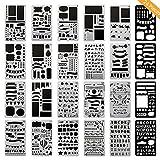 #10: ONEST 24 Pack Journal Stencil Plastic Planner Stencils Journal/Notebook/Diary/Scrapbook DIY Drawing Template Stencil, 4x7 Inch
