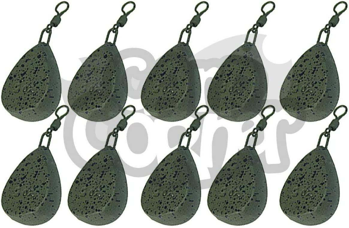 Carp Fishing Pear Leads 1.125 1.5 2 2.5oz with Swivel 10 Pack Weights Lead NGT