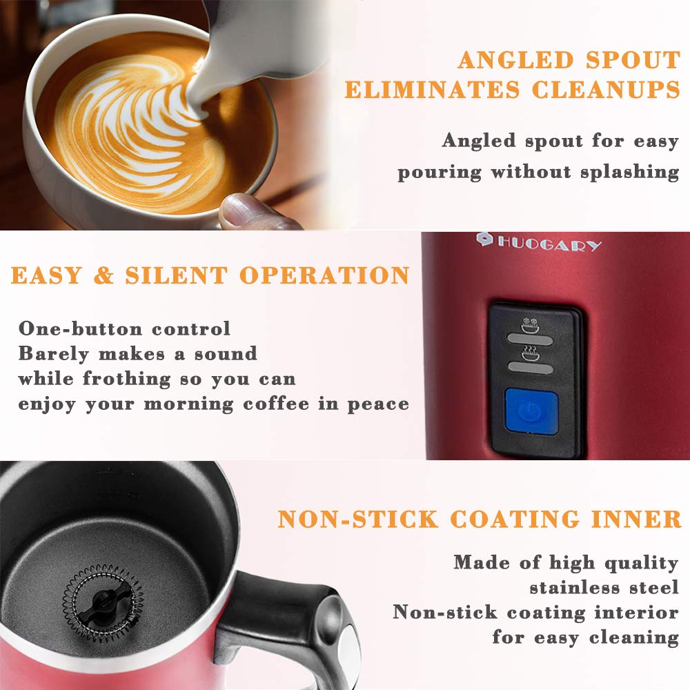 Huogary Milk Frother, Electric Milk Steamer for Hot and Cold Milk,Stainless Steel Milk Warmer,Silent Operation and Non-Stick Interior by Huogary (Image #3)