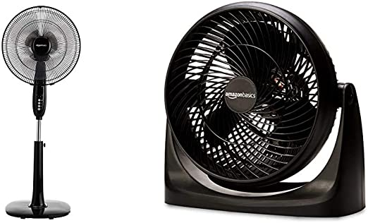 AmazonBasics Oscillating Dual Blade Standing Pedestal Fan with Remote - 16-Inch & 3 Speed Small Room Air Circulator Fan, 11-Inch