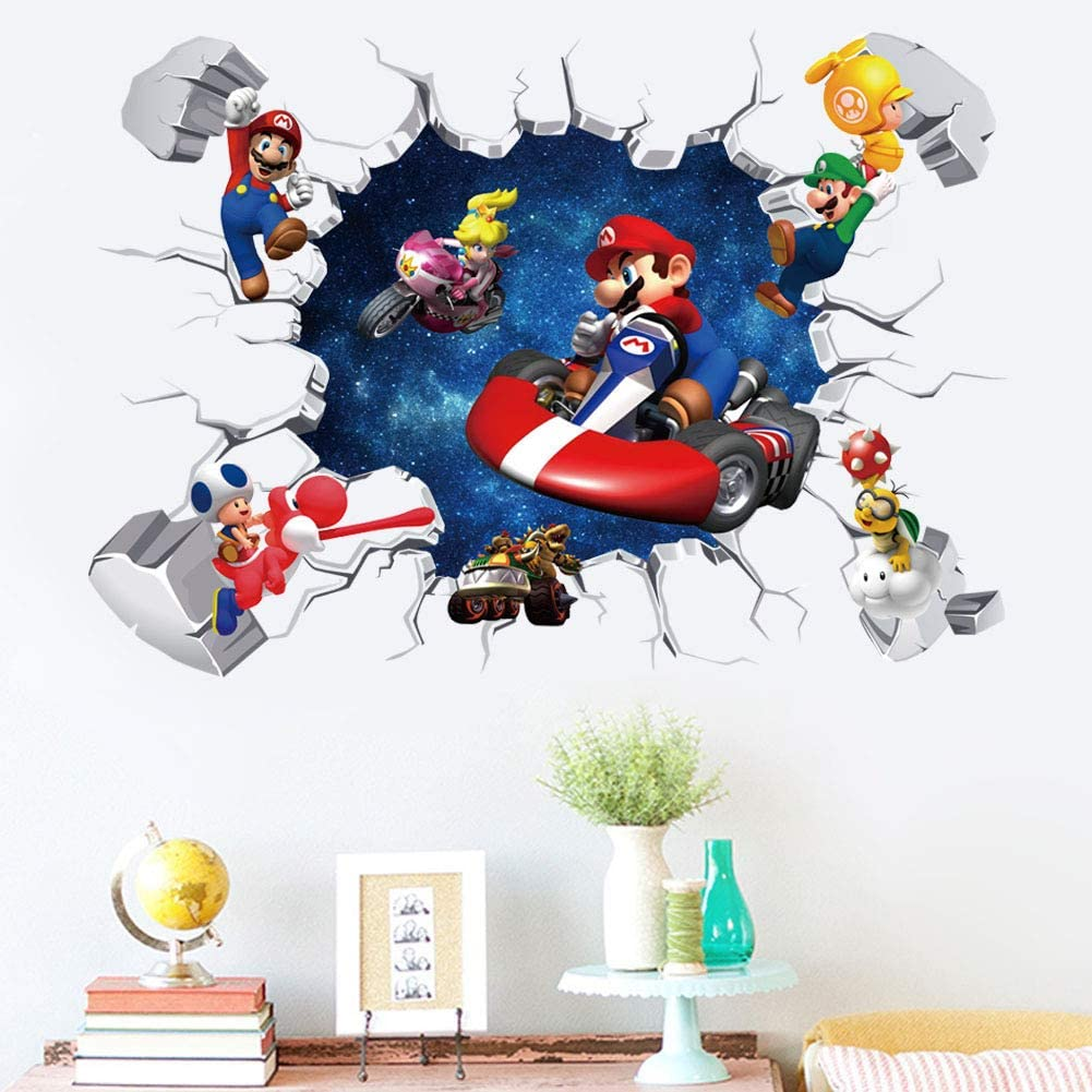 Super Mario Game Sticker Children's Cartoon Bedroom Background Wall Decoration Self-Adhesive Wall Sticker PVC (Mario A)