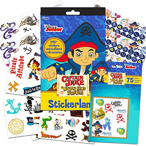 Jake and the Never Land Pirates Party Favors Pack for Kids Toddlers -- 75 Pirate Temporary Tattoos for Kids and 295 Stickers (Pirate Party Supplies) -