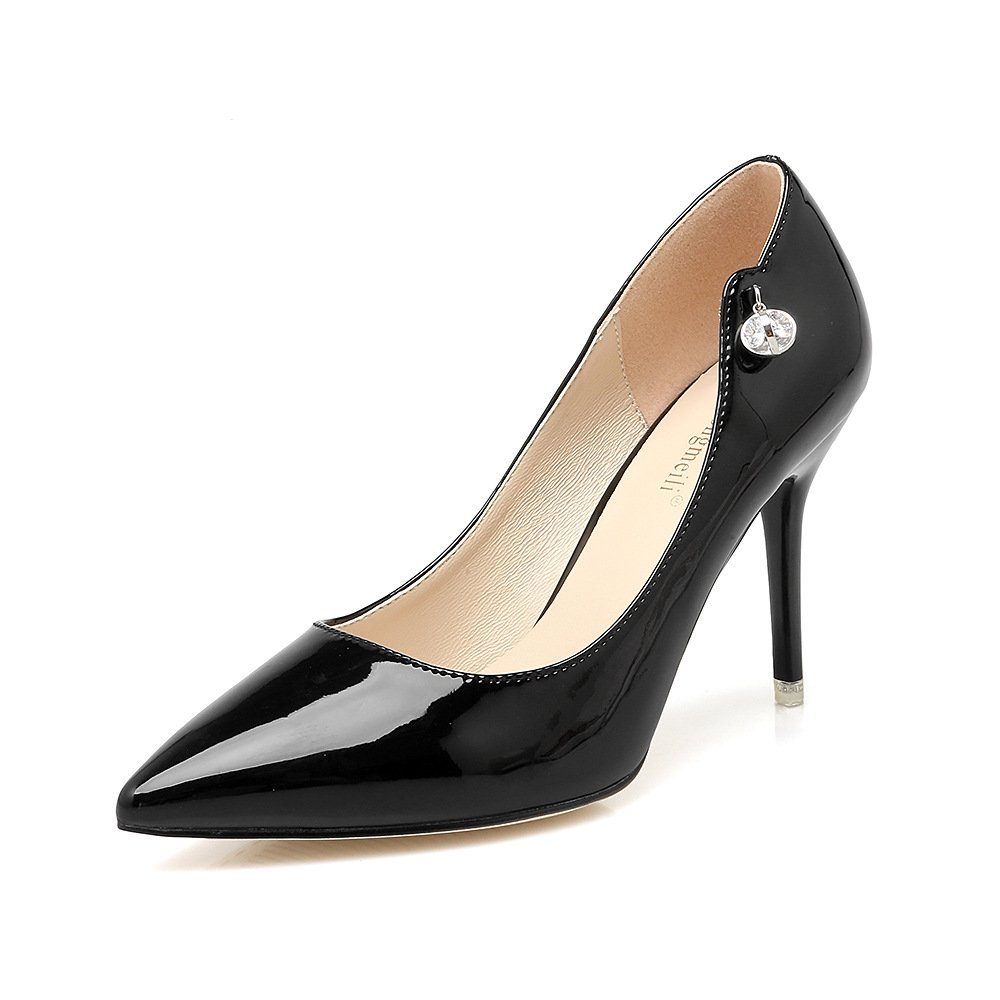 Tip of the high-heel shoes single shoes pointed high-heeled shoes with 9cm thin sexy wedding shoes, Black,39