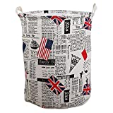 Clothes and toys organizer Waterproof hamper Foldable laundry basket for storage(Flag and English,13.8x13.8x17.7In)