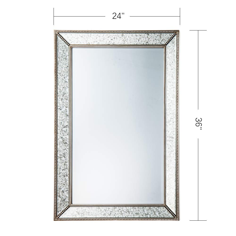 Bead Edge Large Rectangle Antique Decorative Accent Wall Mounted Mirror in Rectangular Shapes Angled Beveled Mirror Frame Accents Living Room Bedroom Vanity Bathroom Hangs Horizontal Vertical
