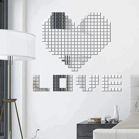 Alokie Espejo 100 Piezas Hexagon Espejo de acrílico Wall Stickers decoración de la Pared Decoración para