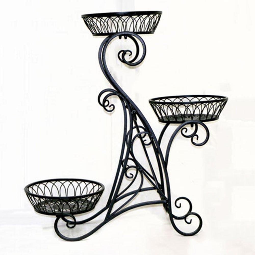 vendita outlet HJ Flower Flower Flower Rack Rack per Fiori in Ferro a più Strati Espositore Decorativo Stile Europeo Patio per Giardino Domestico Display per Patio Esterno per Fiori (3 Colorei) Garden (colore   Nero)  a buon mercato