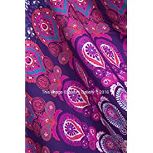 Tapestry Double Peacock Beach Sheet Indian wall Hanging Mandala BedSpread Dorm Decor Tapestries 92x82 Inches Aakriti Gallery (Purple)