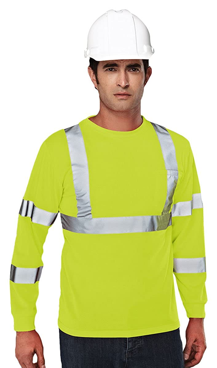 2 Colors, S-4XLT Tri-Mountain Mens Polyester Reflective Tape Mesh Work Shirt