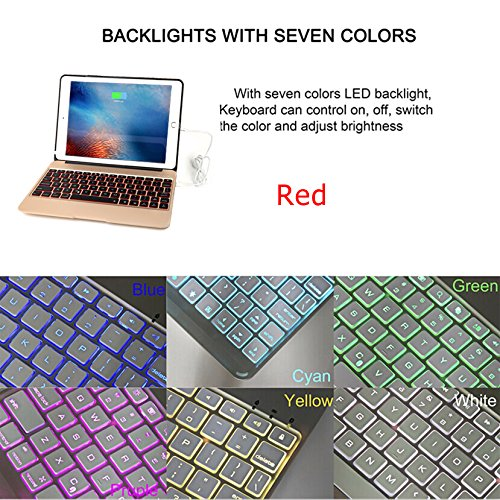 iPad Pro 9.7 Keyboard Case, iEGrow F06 7 Colors Backlit Slim Aluminum Bluetooth Keyboard with Protective Clamshell Case Cover and 2800 mAh External Battery for iPad Air 2 and Pro 9.7