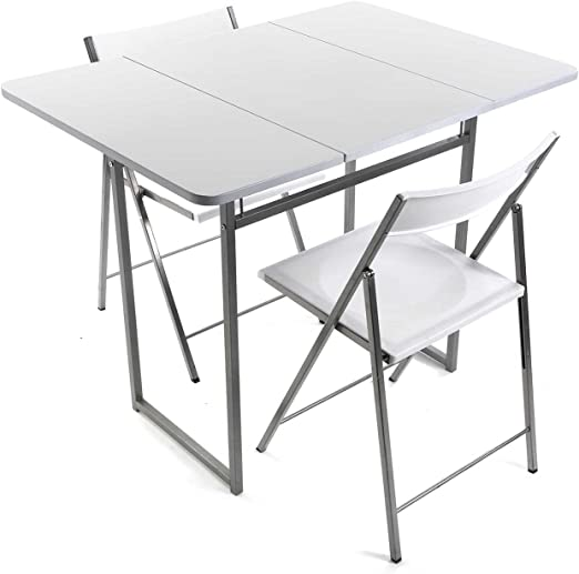 Versa 19840050 Mesa plegable Blanca + 2 sillas, 70x45x80cm, Metal ...